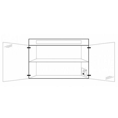 Samano Spiegelkast   dubbelzijdige spiegel   100 cm    zwart   2 deuren   LED verlichting