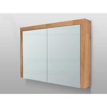 Spiegelkast | dubbelzijdige spiegel | 100 cm | eikenhout | 2 deuren | LED verlichting