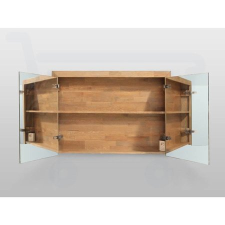 Samano Spiegelkast | dubbelzijdige spiegel | 100 cm | eikenhout | 2 deuren | LED verlichting