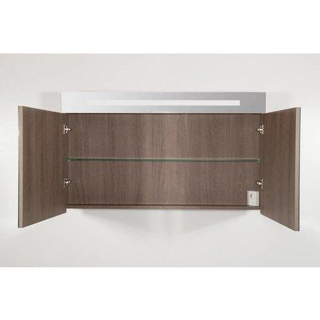 Samano 2.0 Spiegelkast | enkelzijdige spiegel | 120 cm | legno viola | 2 deuren | LED verlichting