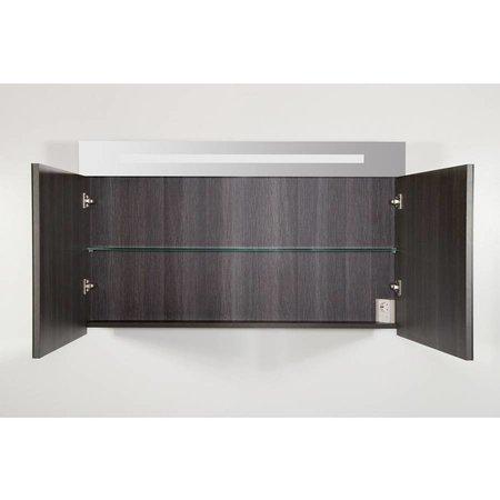 Samano 2.0 Spiegelkast | enkelzijdige spiegel | 120 cm | antraciet | 2 deuren | LED verlichting