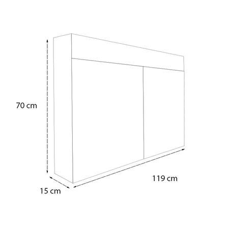 Samano 2.0 Spiegelkast | enkelzijdige spiegel | 120 cm | zwart | 2 deuren | LED verlichting