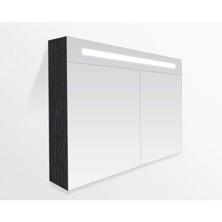 Samano 2.0 Spiegelkast   enkelzijdige spiegel   120 cm   zwart   2 deuren   LED verlichting