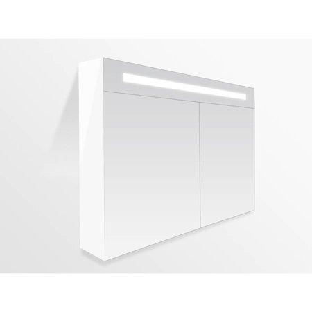 Samano Spiegelkast | dubbelzijdige spiegel | 120 cm | mat wit | 2 deuren | LED verlichting