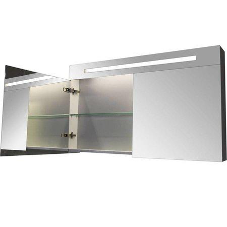 Samano Spiegelkast | dubbelzijdige spiegel | 120 cm | wit | 2 deuren | LED verlichting