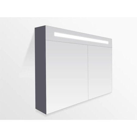 Samano Spiegelkast | dubbelzijdige spiegel | 120 cm | grijs | 2 deuren | LED verlichting