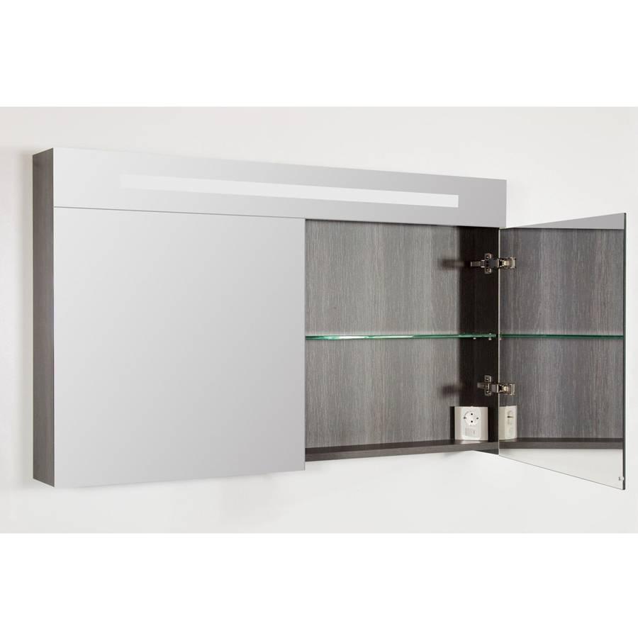 samano spiegelkast dubbelzijdige spiegel 120 cm antraciet 2 deuren led verlichting