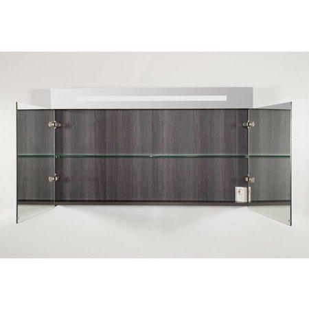 Samano Spiegelkast | dubbelzijdige spiegel | 120 cm |  antraciet | 2 deuren | LED verlichting