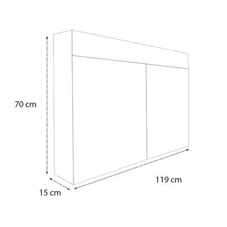 Samano Spiegelkast | dubbelzijdige spiegel | 120 cm | zwart | 2 deuren | LED verlichting
