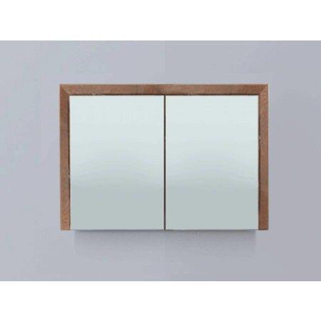 Samano Spiegelkast   dubbelzijdige spiegel   120 cm   eiken   2 deuren   LED verlichting