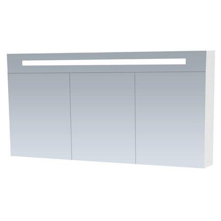 Samano Spiegelkast | dubbelzijdige spiegel | 140 cm | wit | 3 deuren | LED verlichting