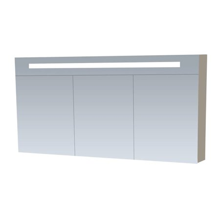 Samano Spiegelkast   dubbelzijdige spiegel   140 cm   taupe   3 deuren   LED verlichting