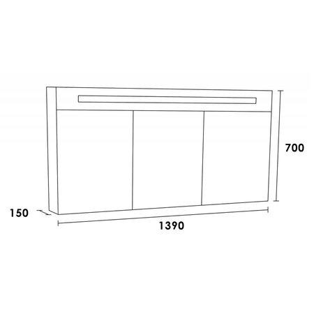 Samano Spiegelkast | dubbelzijdige spiegel | 140 cm | grijs | 3 deuren | LED verlichting