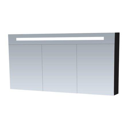 Samano Spiegelkast | dubbelzijdige spiegel | 140 cm | zwart | 3 deuren | LED verlichting
