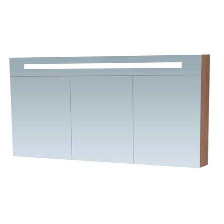 Samano Spiegelkast | dubbelzijdige spiegel | 140 cm | legno viola | 3 deuren | LED verlichting