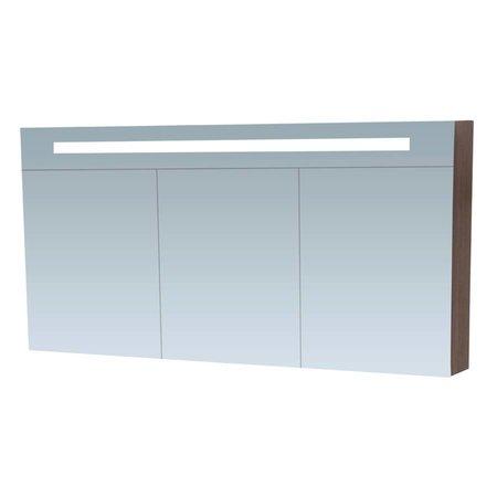 Samano Spiegelkast | dubbelzijdige spiegel | 140 cm | antraciet | 3 deuren | LED verlichting
