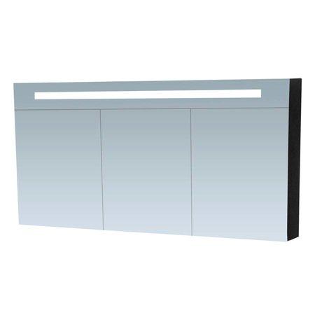 Samano Spiegelkast   dubbelzijdige spiegel   140 cm   zwart   3 deuren   LED verlichting