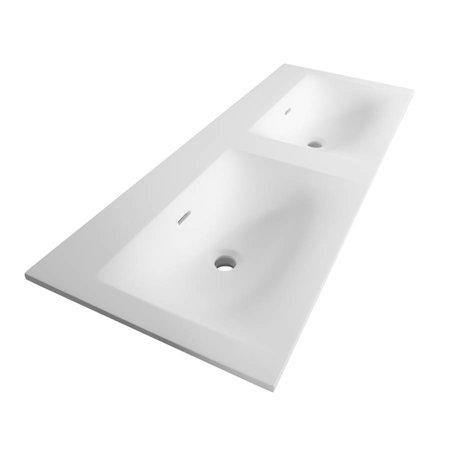 Samano Wastafelblad Fiora Glanzend Wit 140cm | dubbele spoelbak | geen kraangaten