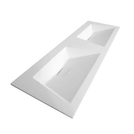 Samano Wastafelblad Alento Mat Wit 140cm | dubbele spoelbak | geen kraangaten