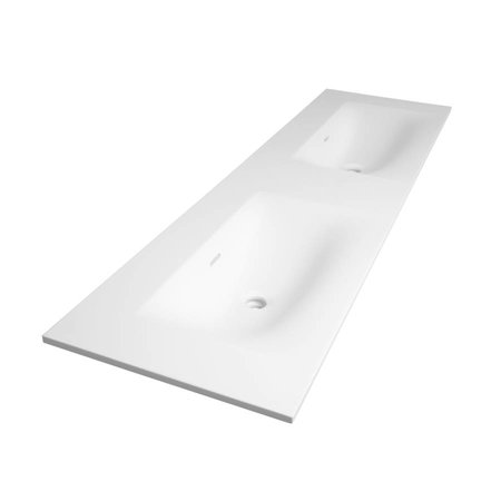 Samano Wastafelblad Fiora Glanzend Wit 160cm | dubbele spoelbak | geen kraangaten