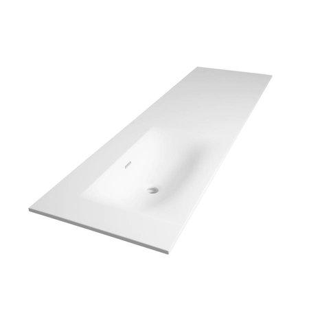 Samano Wastafelblad Fiora Mat Wit 160cm | spoelbak links | 1 kraangaten