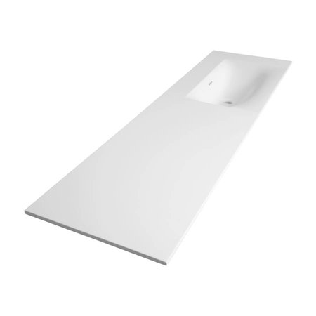 Samano Wastafelblad Fiora Glanzend Wit 160cm   spoelbak rechts   geen kraangaten