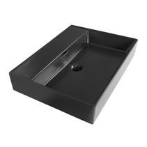Wastafelblad Legend 60 cm | mat zwart | geen kraangaten