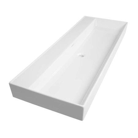Samano Wastafelblad Legend 120 cm   wit   enkele spoelbak   geen kraangaten