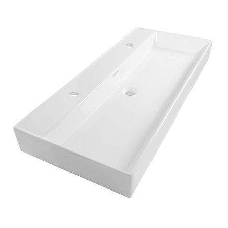 Samano Wastafelblad Legend 120 cm | wit | enkele spoelbak | 2 kraangaten