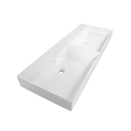 Samano Wastafelblad Legend 120 cm   wit   dubbele spoelbak   geen kraangaten