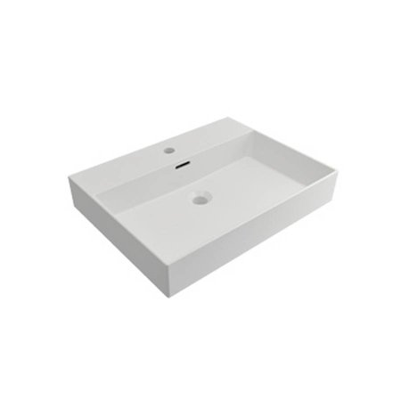 Samano Wastafelblad Legend 60 cm   mat wit   enkele spoelbak   1 kraangat
