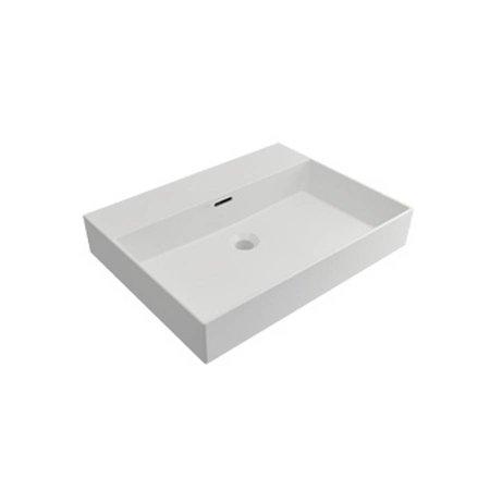 Samano Wastafelblad Legend 60 cm | mat wit | enkele spoelbak | geen kraangaten