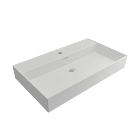 Samano Wastafelblad Legend 80 cm | mat wit | enkele spoelbak | 1 kraangat