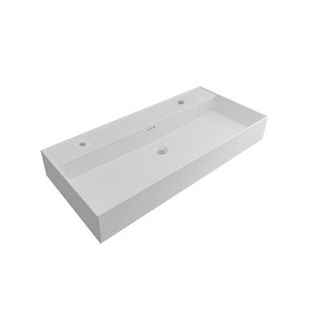 Samano Wastafelblad Legend 100 cm | mat wit | enkele spoelbak | 2 kraangaten