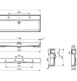 Samano Wastafelblad Legend 120 cm | mat wit | enkele spoelbak | 2 kraangaten