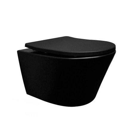 Samano Wiesbaden Vesta rimless wandcloset + toiletzitting mat-zwart
