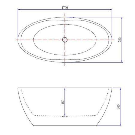 Samano Wiesbaden Oval vrijstaand ligbad acryl 170x78 cm mat-wit