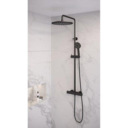 Brauer Brauer Black showerpipe met thermostaat 30cm regendouche 3 standen handdouche mat zwart