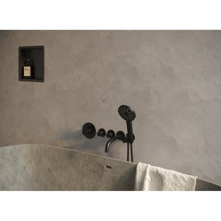 Brauer Brauer Black inbouwthermostaatset inclusief baduitloop en 3 standen handdouche mat zwart