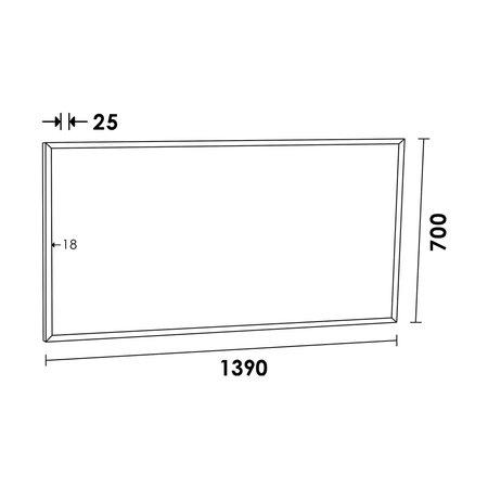 Samano Silhouette 140 spiegel 139x70cm zwart aluminium