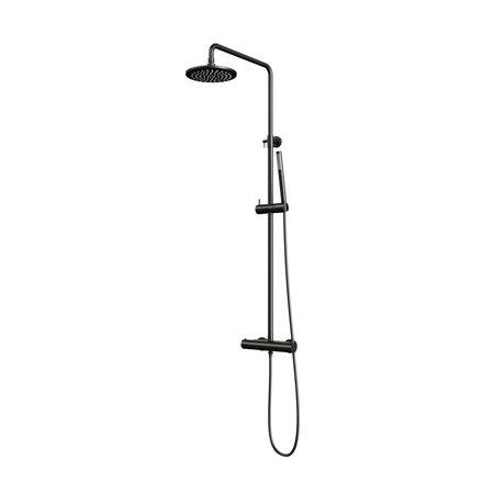 Brauer Brauer Black showerpipe met thermostaat 20cm regendouche staafhanddouche mat zwart