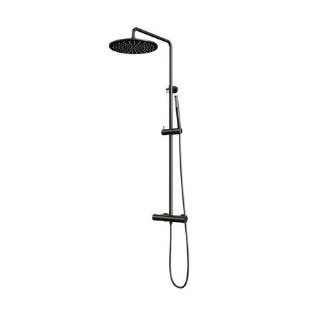 Brauer Brauer Black showerpipe met thermostaat 30cm regendouche staafhanddouche mat zwart