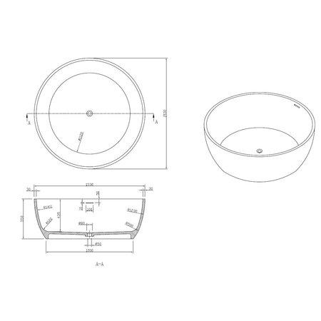 """Best Design Best-Design """"Cirkel"""" vrijstaand bad """"Just-Solid"""" diam:153 cm"""