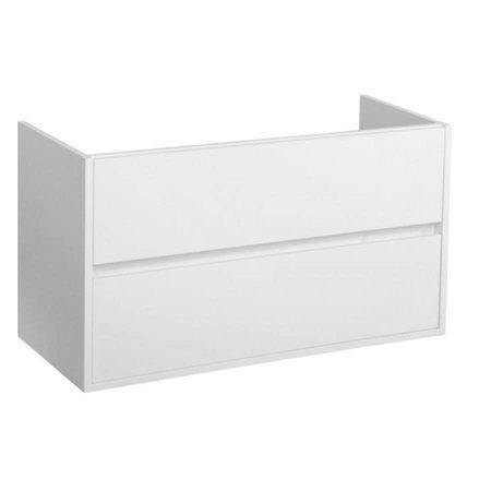 Samano Nexxt Onderkast Badkamermeubel | mat wit | 120 cm | greeploos | 2 lades | softclose|1 sifonuitsparing