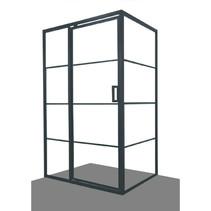 """Best-Design Douchecabine """"Zeplin-1400"""" met nisdeur 1400x900X2100X8mm zwart"""