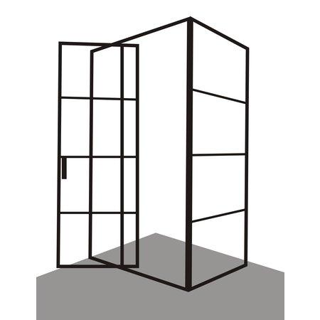 """Best Design Best-Design Douchecabine """"Zeplin-1400"""" met nisdeur 1400x900X2100X8mm zwart"""