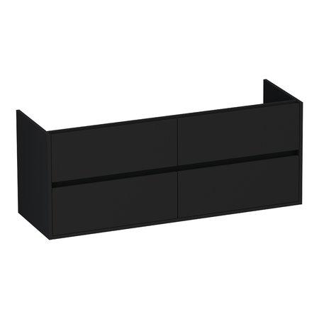 Samano Nexxt Onderkast Badkamermeubel  Mat zwart   140 cm   greeploos   4 lades   softclose   2 sifon- uitsparingen