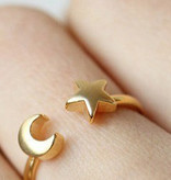 Joboly Moon star maan ster boho bohemian style verstelbare ring
