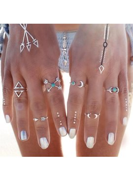 Joboly Hip moon arrow boho bohemian style ring set