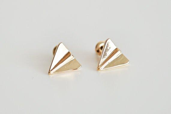 Joboly Origami-Faltenflugzeug minimalistische Ohrringe